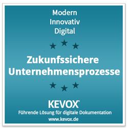 Auszeichnung Zukunftssicher mit kevox digitale Dokumentation
